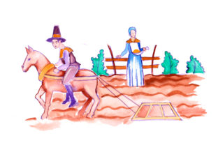 Pilgrims Farming in Gouache Style Thanksgiving Craft Cut File By Creative Fabrica Crafts