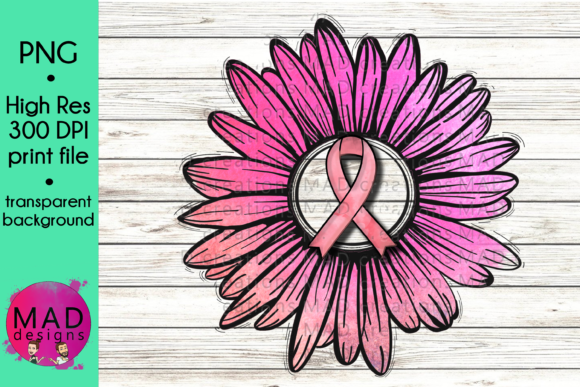 Pink Awareness Ribbon Rustic Sunflower Graphic Crafts By maddesigns718