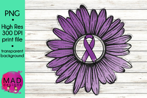 Purple Awareness Ribbon Rustic Sunflower Graphic Crafts By maddesigns718