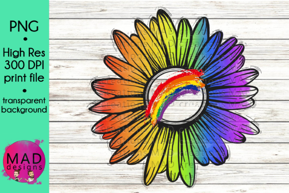 Rainbow Rustic Sunflower Graphic Crafts By maddesigns718
