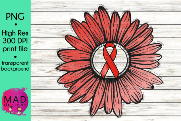 Red Awareness Ribbon Rustic Sunflower Graphic Crafts By maddesigns718
