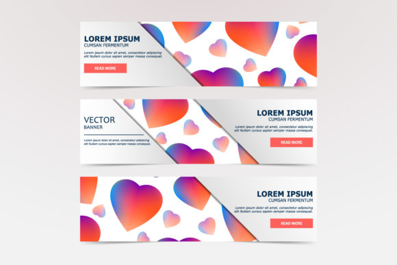 Vector Banner of Hearts Graphic Graphic Templates By Manuchi