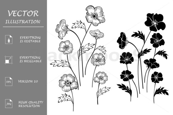 Silhouettes Delicate Flowers Graphic Illustrations By Blackmoon9