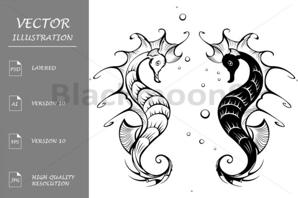 Silhouettes of Seahorses ( Sea Horse ) Graphic Illustrations By Blackmoon9