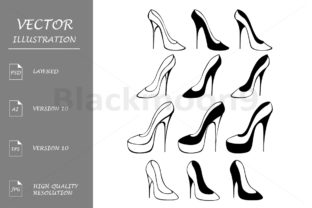Download Free Silhouettes Of Shoes Graphic By Blackmoon9 Creative Fabrica for Cricut Explore, Silhouette and other cutting machines.