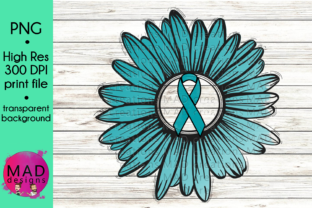 Download Free Teal Awareness Ribbon Rustic Sunflower Graphic By Maddesigns718 for Cricut Explore, Silhouette and other cutting machines.