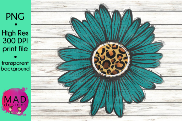 Teal and Leopard Print Skin Sunflower Graphic Crafts By maddesigns718