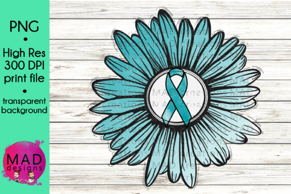 Teal & White Awareness Ribbon Sunflower Graphic Crafts By maddesigns718 - Image 1