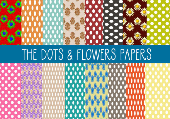 Download Free The Dot Flower Papers Graphic By Capeairforce Creative Fabrica for Cricut Explore, Silhouette and other cutting machines.