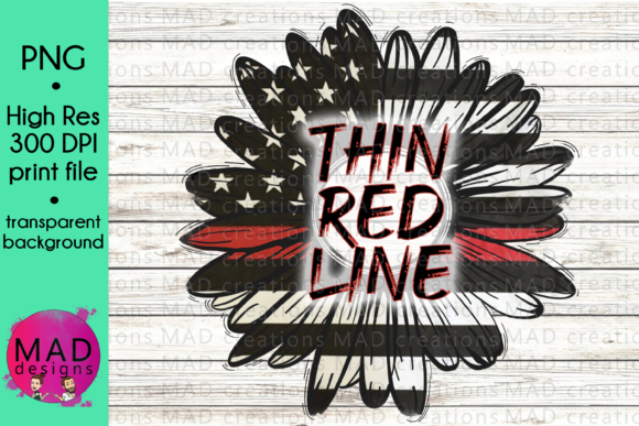 Thin Red Line Rustic Sunflower Graphic Crafts By maddesigns718