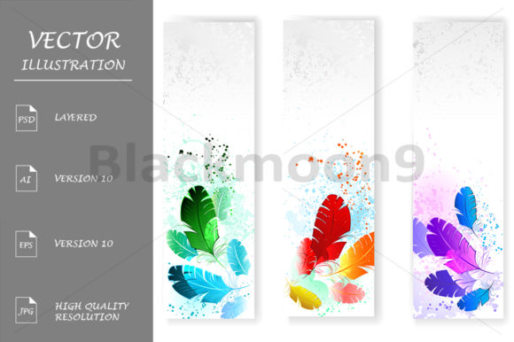 Three Banners with Colored Feathers Graphic Graphic Templates By Blackmoon9