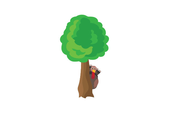 Download Free Turkey Hiding Behind Tree Svg Cut File By Creative Fabrica for Cricut Explore, Silhouette and other cutting machines.