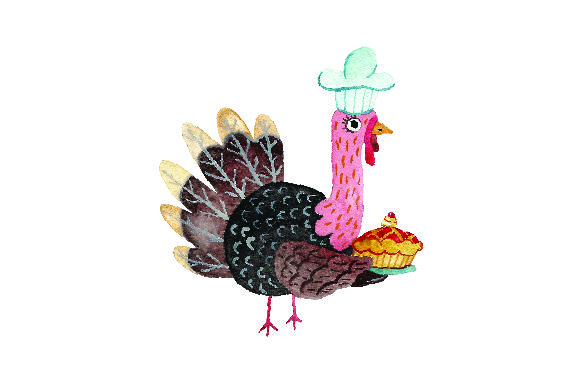 Turkey Wearing Chefs Hat Holding a Pie - Watercolor Thanksgiving Craft Cut File By Creative Fabrica Crafts