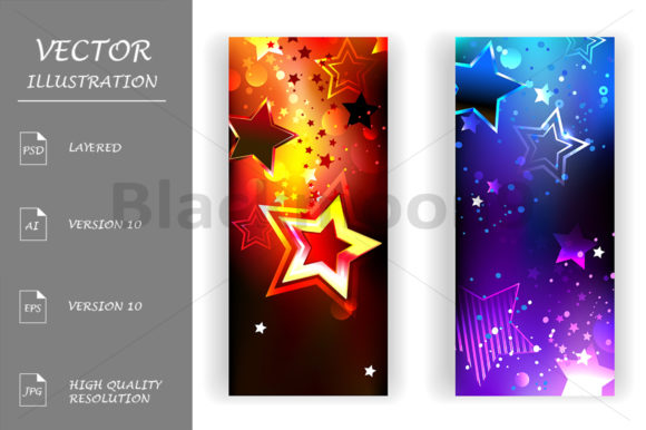 Two Banners with Abstract Stars Graphic Graphic Templates By Blackmoon9