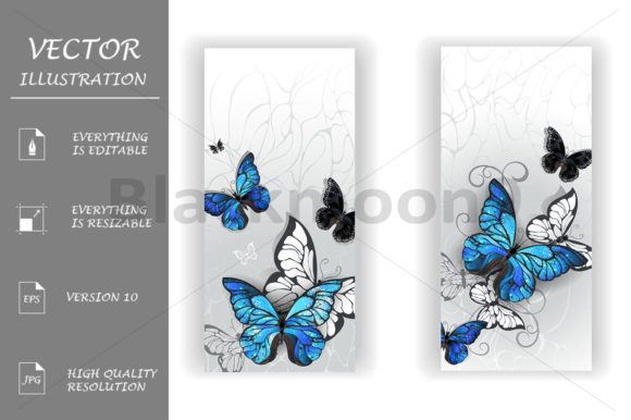 Two Banners with Butterflies Morpho Graphic Graphic Templates By Blackmoon9