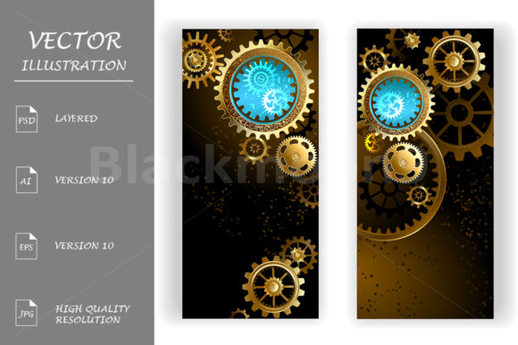 Two Banners with Gears ( Steampunk ) Graphic Graphic Templates By Blackmoon9