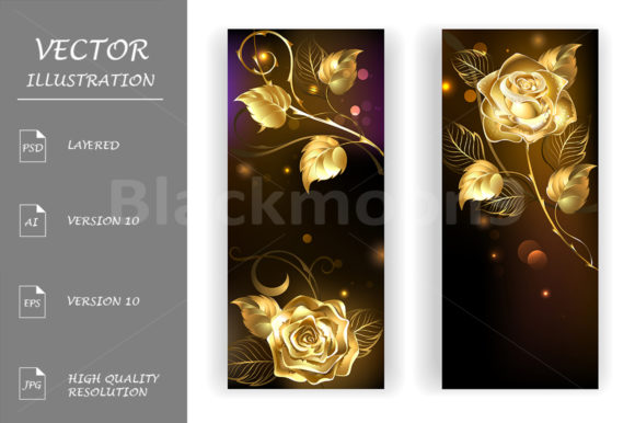 Two Banners with Gold Roses Graphic Graphic Templates By Blackmoon9