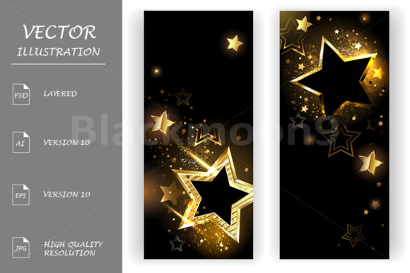 Two Banners with Golden Stars Graphic Graphic Templates By Blackmoon9