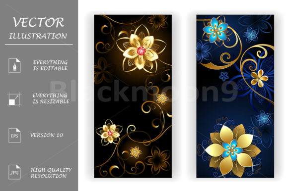 Two Banners with the Jewelry Flowers Graphic Graphic Templates By Blackmoon9