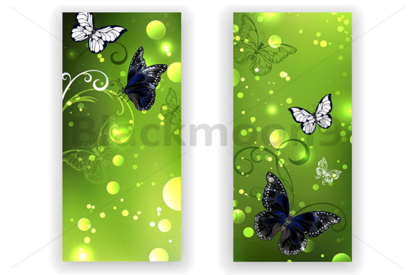 Two Green Banners with Butterflies Graphic Graphic Templates By Blackmoon9