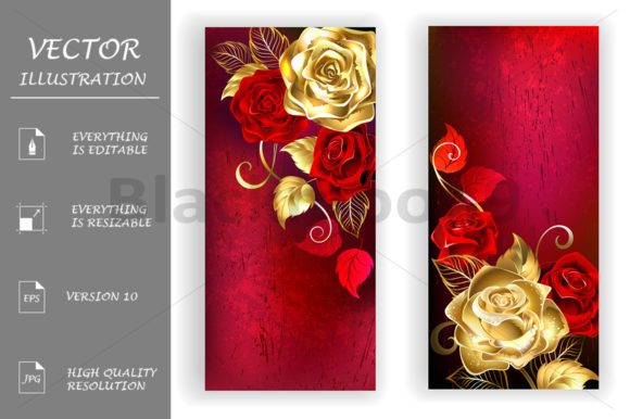 Two Red Banners with Gold Roses Graphic Print Templates By Blackmoon9