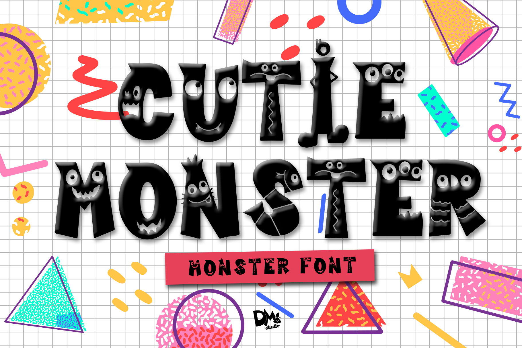 Download Free Cutie Monster Font By Dmletter31 Creative Fabrica for Cricut Explore, Silhouette and other cutting machines.