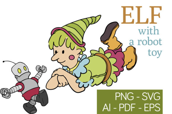 Download Free Elf Enjoying A Robot Toy Graphic By Milaski Creative Fabrica for Cricut Explore, Silhouette and other cutting machines.