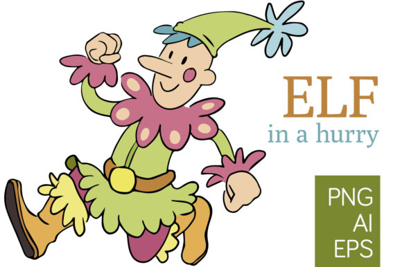 Print on Demand: Elf in a Hurry - Png and Vector Graphic Illustrations By Milaski