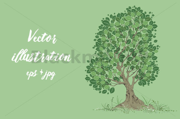 Download Free Vector Tree On A Green Background Graphic By Blackmoon9 for Cricut Explore, Silhouette and other cutting machines.