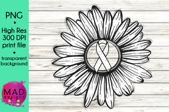 White Awareness Ribbon Rustic Sunflower Graphic Crafts By maddesigns718