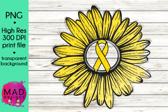 Yellow Awareness Ribbon Rustic Sunflower Graphic Crafts By maddesigns718