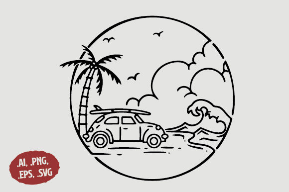 Download Free Beach Car Island Line Art Logo Graphic By Sasongkoanis for Cricut Explore, Silhouette and other cutting machines.