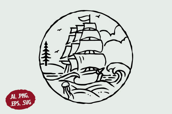 Download Free Beach Ship Island Line Art Logo Graphic By Sasongkoanis for Cricut Explore, Silhouette and other cutting machines.