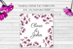 Download Free Purple Floral Wedding Favor Tag Template Graphic By Elsabenaa for Cricut Explore, Silhouette and other cutting machines.