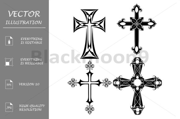 Four Black Cross Graphic Illustrations By Blackmoon9