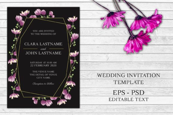 Download Free Purple Floral Wedding Invitation Card Graphic By Elsabenaa SVG Cut Files