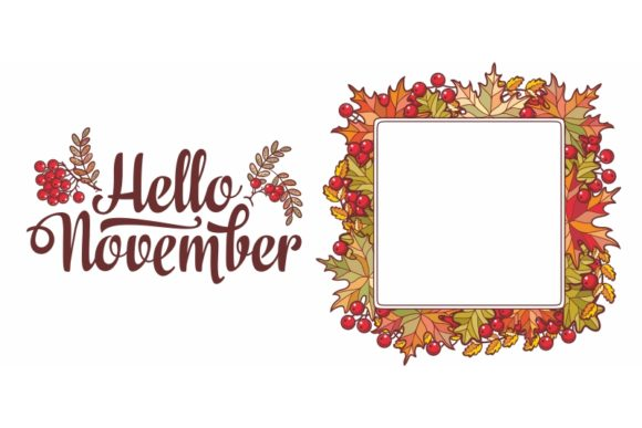 Download Free Hello November Lettering Phrase Text Graphic By Zoyali for Cricut Explore, Silhouette and other cutting machines.