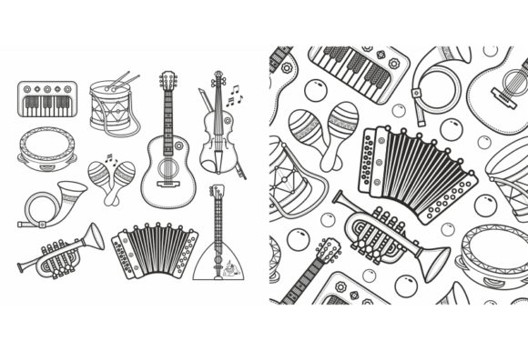 Print on Demand: Cute Cartoon Musical Instruments Graphic Illustrations By zoyali