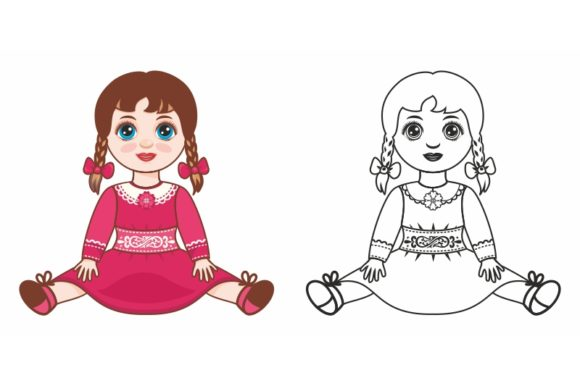 Download Free Vector Doll Cartoon Children S Toy Graphic By Zoyali for Cricut Explore, Silhouette and other cutting machines.