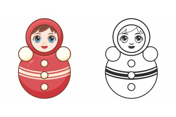 Print on Demand: Roly-Poly Toy. Russian Doll Nevalyashka. Graphic Coloring Pages & Books Kids By zoyali