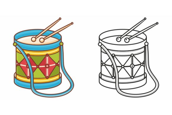 Print on Demand: Musical Instrument Drum. Children's Toy. Graphic Coloring Pages & Books Kids By zoyali