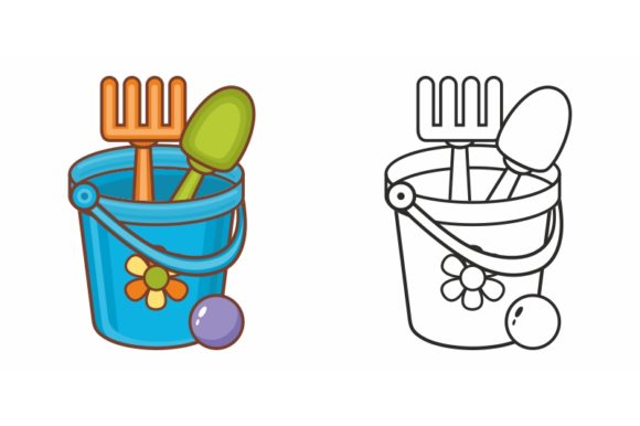 Print on Demand: Children's Toy Bucket, Scoop, Spatula Graphic Coloring Pages & Books Kids By zoyali