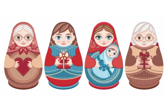 Download Free Cute Russian Nesting Dolls Matryoshka B Graphic By Zoyali for Cricut Explore, Silhouette and other cutting machines.