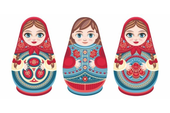 Download Free Cute Russian Nesting Dolls Matryoshka Graphic By Zoyali for Cricut Explore, Silhouette and other cutting machines.