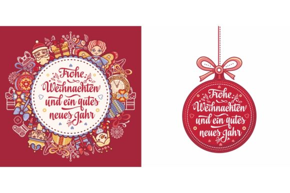 Download Free Frohe Weihnachten German Christmas Card Graphic By Zoyali for Cricut Explore, Silhouette and other cutting machines.