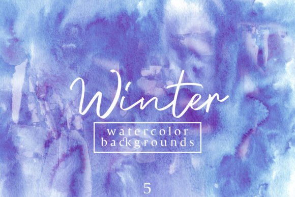 Print on Demand: Winter Watercolor Backgrounds 5 Graphic Backgrounds By freezerondigital