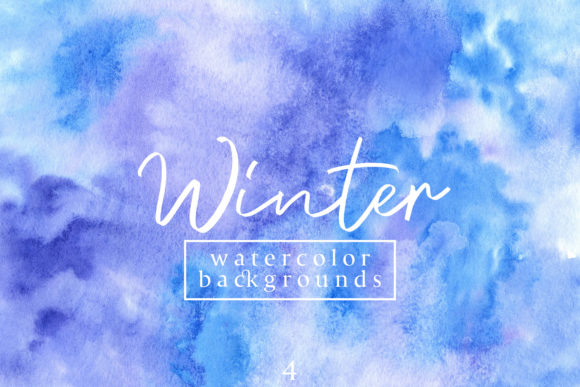 Print on Demand: Winter Watercolor Backgrounds 4 Graphic Backgrounds By freezerondigital