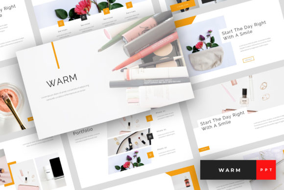Warm - Beauty and Cosmetics PowerPoint Graphic Presentation Templates By StringLabs