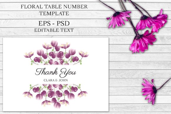 Print on Demand: Purple Floral Thank You Card Template Graphic Print Templates By elsabenaa