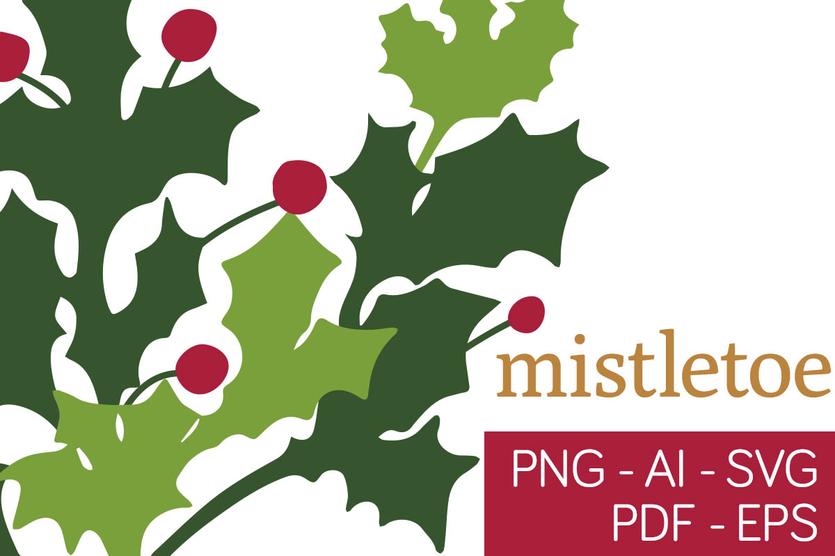 Download Free Christmas Mistletoe Clipart Graphic By Milaski Creative Fabrica for Cricut Explore, Silhouette and other cutting machines.